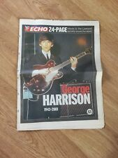 George Harrison Liverpool Echo Tribute Paper 30 November 2001 Rare