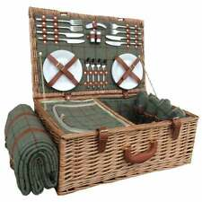 More details for luxury green tweed lined 4 person picnic wicker hamper basket woven blanket