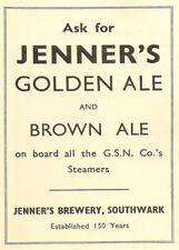 JENNER'S GOLDEN OR BROWN ALE, Southwark, London, 1937, 250gsm A3 Poster