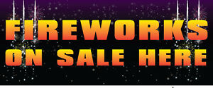 FIREWORKS BONFIRE NIGHT SOLD HERE BANNER SIGN PVC with Eyelets + Custom option 1