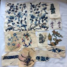 Antique Old Chinese Gold Silk Embroidery Flowers Appliqués Lot Unused