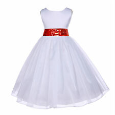 SPECIAL WHITE MESH SASH FLOWER GIRL DRESS PAGEANT WEDDING BRIDESMAID CHILDREN