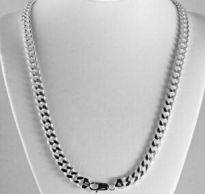Heavy 8.3mm Solid 925 Sterling Silver Miami Cuban Link Chain Italy Men 24 & 30