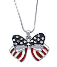 4th of July USA American Flag Red Blue Bow Ribbon Patriotic Pendant Necklace