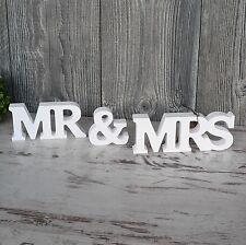 Schriftzug MR & MRS aus Holz 37cm weiß Buchstaben Wanddeko Holzschild Hochzeit