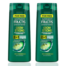 (2 Pack) Garnier Fructis Men's Grow Strong Cooling 2 in 1 Shampoo & Conditioner