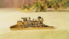 "Vtg Hickok Usa Train Engine Locomotive Tie Clip Clasp Tac gold tone 2"" Railroad"