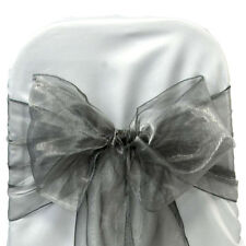 100 silver gray organza Chair Cover Sash Bows Tie Wedding Venue Decorations
