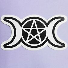 Pentagram & Moons Sticker laptop Crescent Moon Gothic Pagan Witch Satan Mystic
