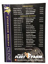 """2010 Minnesota Vikings Skol NFL Mills Fleet Farm Fridge Magnet Schedule 7x5"""""""