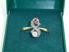 RING Jugendstil Belle Epoque 585er GG WG Gold Diamanten  Diamantrauten Rubin