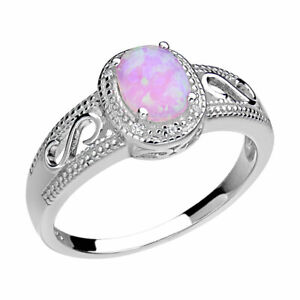 Lab Created Oval Pink Opal Sterling Silver Halo Women Wedding Engagement Ring