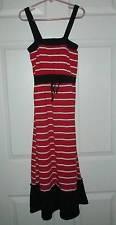 Chillipop Red Black Stripe Maxi Sundress Dress 10 12