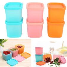 6pcs Plastic Seasoning Box Kitchen Sorting Food Storage Case Container +Lid hg