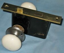 ANTIQUE DOOR LOCK SET BRASS FACE PLATE PORCELAIN KNOBS P&F CORBIN 12/291877