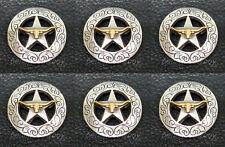 """Set of 6 WESTERN HORSE SADDLE TACK GOLD LONGHORN STEER STAR CONCHOS 1-1/8"""""""