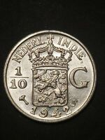 #2 Netherlands East Indies 1942 1/10 gulden 72% silver 15mm circulated coin...