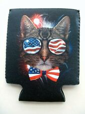 2 New American Flag Patriotic Cool Kitty Cat Design Can Koozie Fishing Bud Beer