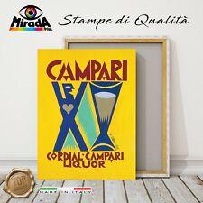 QUADRO Vintage Fortunato Depero CAMPARI GIALLO STAMPA CANVAS ARREDO BAR aperitiv