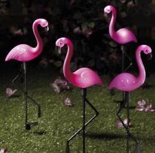 NEW Set of 4 Solar Flamingo Lights Pink Patio Garden Ornament