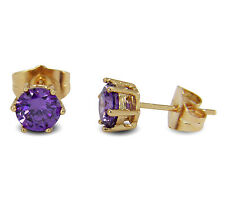 18ct Gold Filled 6MM Simulated Amethyst Stud Earrings Womens BE954