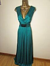 monsoon green silk beaded maxi cocktail evening occasion dress size 12 uk