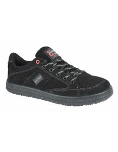 Black Suede Skateboarding Safety Toe Cap Shoes Trainers