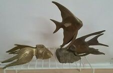 Vintage brass figurines pair of Angel fish & Kio fish