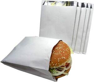 "500 X Foil Lined White Paper Bag - Size 7"" x 9"" x 12"" (Hot Chicken, Nan Bread)"
