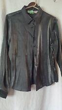 Christie & Jill Silver Metallic Satin Long Sleeve Button Down Shirt Size 10