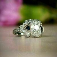 Vintage Art Deco 2.2Ct White Round Cut Diamond Engagement Ring 14K White Gold Fn