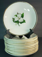"""Set of 12 American Limoges China Glamour Trillium 22K 8"""" Coupe Soup Bowls G-410"""