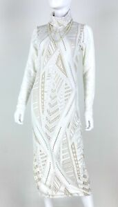 Stillwater New 4 6 US 42 IT S White Beige Stretch Dress Cutouts Mesh Runway Auth