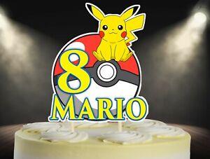 Pokemon Cake Topper, Pikachu Cake Topper Personalized Topper, Custom Cake Topper