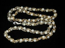 Vintage 18K Gold Plated stamped chain with faux pearls - Costume necklace