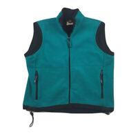REI Thaw Women's Fleece Vest Teal Blue Zip Drawstring Mock Neck Pockets USA M