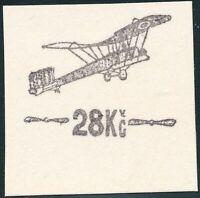 TSCHECHOSLOWAKEI 1920 Hradschin-Flugpostaufdruck 28 Kc, ungezähnte PROBEDRUCK