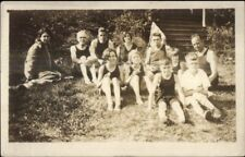 Kids & Grownups & Bathing Suits Bayville ME Cancel c1910 RPPC Postcard