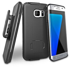 For Galaxy S7 Edge Belt Clip Case, [secure-fit] Holster w/ Slim Cover (Black)