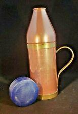 Vintage Copper Wine Bottle Holder Cooler Server W/Brass Handle Barware Euc