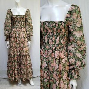 Vintage Audrey Marlett Jack Kramer Floral Smocked Prairie Maxi Dress - Size XS/S