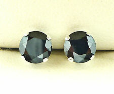 925 Silver Stud Earrings 8mm Round Created Black Stone S1014