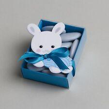 Lot de 10 boites à dragées fourreau lapin bleu baptême 1320