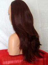 Half Wig Fall Clip In Hair Piece straight 3/4 wig fall real feel Red brown Y18