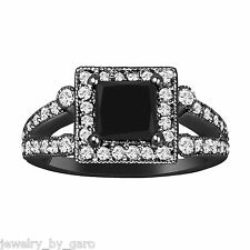 NATURAL PRINCESS CUT ENHANCED BLACK DIAMOND ENGAGEMENT RING 14K BLACK GOLD