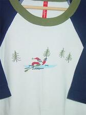 Hanna Anderson Christmas Santa Paddle in Kayak Tree Boat Shirt 160 White 14 16