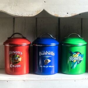 Canisters, set of three Australian icon advertising brands
