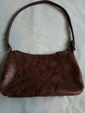 Vintage Paisley Relic Purse Embossed Tooled Brown Leather Satchel