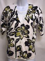INC International Concepts Petite Floral 3/4 Sleeve Cardigan Sweater Large NICE!