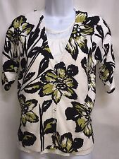 INC International Concepts Petite Floral 3/4 Sleeve Cardigan Sweater Large NICE!